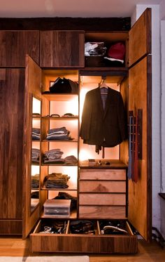 Man's closet made from reclaimed good by Green Furniture Design..another closet option for my baby love!