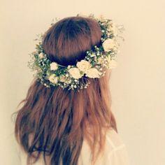 Bride's Green + White Fresh Floral Crown
