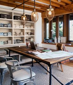 Love the mix of rustic and modern in this great home office.