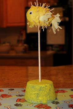 Create a cute decorative puffer fish with your children and display it on your mantel.