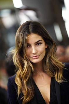 Hair+Color+Ideas+For+Brunettes+2012   lily-aldridge-ombre hair-color