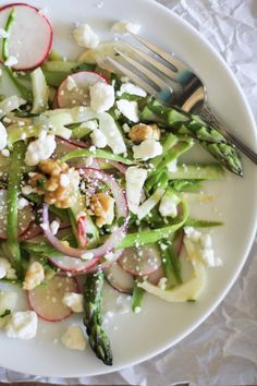 Spring Salad with Shaved Asparagus and Lemon-Parsley Dressing