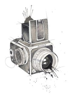 """Poster """"Hasselblad"""" by Mona Stenseth Photography Camera, Fine Art Photography, Photographer Tattoo, Camera Tattoos, Vintage Cameras, Best Camera, Tattoo Inspiration, Backdrops, Illustration"""