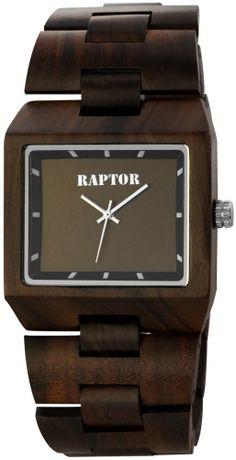 damen holz-armbanduhr braun raptor uhr holzuhr datum strass, Moderne