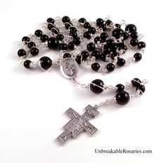 St Francis with Wolf Rosary Beads For Men In Black Onyx with San Damiano Crucifix by Unbreakable Rosaries www.UnbreakableRosaries.com