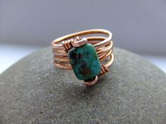 Wire wrapped rings 150589181263427158 - African turquoise jasper and copper wire wrap ring Source by patouilleetc Wire Jewelry Rings, Copper Jewelry, Jewelry Art, Beaded Jewelry, Jewelery, Handmade Jewelry, Jewelry Design, Copper Wire, Wire Bracelets