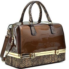 Dasein Patent Leather Barrel Body Satchel Shoulder Bag With Bottom Compartment