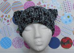 Black and Grey Tabby/Calico Handmade Kitty Hat