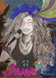 "Estampa Janis Joplin, série ""Mulheres na Música"", para Dona Moça Camisetaria"