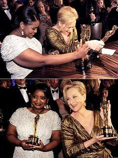 The night's leading ladies, Octavia Spencer and Meryl Streep, take a moment to admire their statuettes at the Governors Ball. More Oscar party photos: bit.ly/xDGT3c