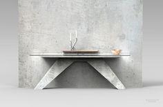 Console à 2 pieds en béton, verre et cuivre by Jimmy Delatour. 2 legs console table made in concrete, copper  and glass. www.delatourdesignlab.com Furniture design, design de mobilier.