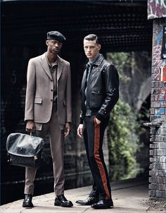 Pictured left to right, Montell Martin dons a monochromatic suiting number from Louis Vuitton, while Jack Buchanan embraces a modern cool in Givenchy for GQ France.