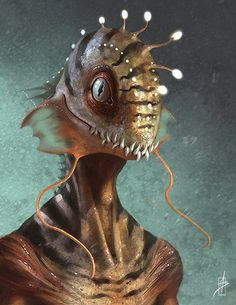 """#RaceBeyond Maybe a little past my 'believable' collection, but if you forget it's a fish for a head and just treat it as a head design in general, it's genius! -- much of these """"fishmen"""" on DeviantArt by Zhrayde, check him out! Ok, just like 'catmen', I'm generally against 'fishmen' (not to be confused with my definition of 'mermen') but I felt like this was all too beautiful not to share!"""