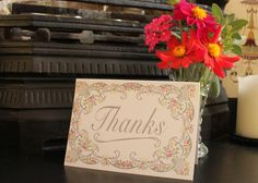 Floral Border Thank You Card by KitchCards on Etsy