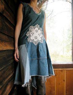 denim patchwork dress idea