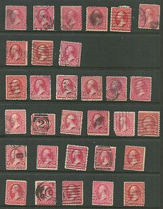 USA valuable colection of 31 sc# 220 - 2¢ Washington numer cancels Stamps used