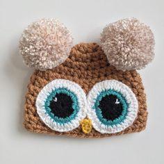 Owl Pompom Beanie, Ready to Ship, Baby Girl Beanie, Crochet Hat, Pompom Hat, Baby Shower Gift, Crochet Beanie, Winter Beanie, Photo Props