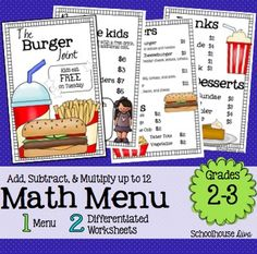 A cute and fun math restaurant menu to engage your students!Included:*  The Burger Joint restaurant menu (both color & BW included!)*  2 differentiated worksheets*  Answer KeysThe following topics is covered in this activity:* Adding & Subtracting Whole Numbers (money)* Multiplying Numbers up to 12 (Fact Families)This activity measures student's real world problem solving and reasoning skills.