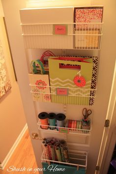 Gift Wrap Station - inside closet in movie room