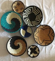Set of 8 Baskets /African Wall Basket, Woven Hanging Basket,   fruit bowls   Woven Wall Bowls   Woven baskets   wall decor   Ungo bowl   1000 Home Decor Baskets, Basket Decoration, Baskets On Wall, Hanging Baskets, Wall Basket, Woven Baskets, Gift Basket, Painted Baskets, Square Baskets