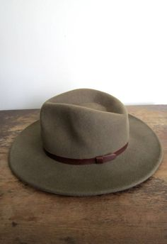 wide brim unisex wool/leather hat by fourprovinces on Etsy, $12.00