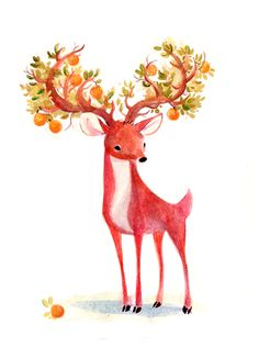 orange tree antlers - sydney anson. check out her other beautiful illustrations here : http://www.shannonassociates.com/artist/sydneyhanson