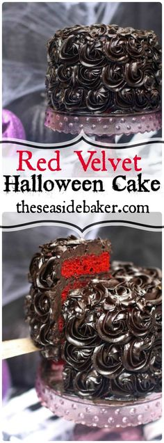 A Delicious Red Velvet Halloween Cake That Is Blood Red And Topped With Black Roses Will