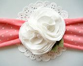 Jersey Knit Headband - Watermelon Polka Dot Jersey Knit - White Jersey Knit Rosettes - Felt Leaves