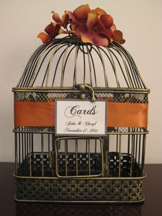 Bird Cage Wedding Card Holder. Love the ribbon accent