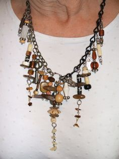 Statement Necklace Bib Chunky Upcycled Tribal by UniqueDesignsbyCK, $29.99