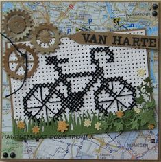 Trijntjes Kaarten: Fiets in kruissteekjes Cross Stitch Cards, Cross Stitching, Fleece Crafts, Embroidery Needles, Marianne Design, Card Patterns, Diy Cards, Making Ideas, Cross Stitch Patterns