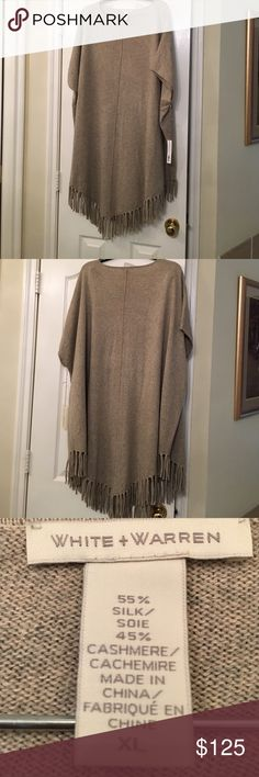 Neiman Marcus Silk & Cashmere Fringe Trim Poncho This White and Warren Brand Poncho has custom color BEECH HEATHER. 55% Silk & 45% Cashmere is that perfect combination for fabric richness and comfort. White + Warren Sweaters Shrugs & Ponchos