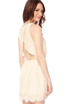 Beady Scalloped Dress in Cream $62 at www.tobi.com