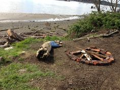 This area has one of only a few gravel beaches along the Chehalis, with tides bringing the water level almost to the campfire.