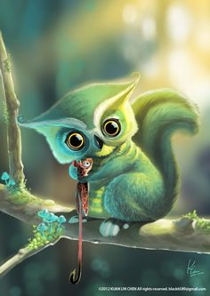 Owl and Squirrel by ~black6589 on deviantART