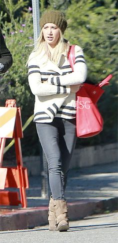 Scary Movie 5 actress Ashley Tisdale wore a Free People Earned Stripes Jacket when she and her boyfriend Christopher French have lunch at The 101 Coffee Shop in Hollywood, California on January 10th, 2013.