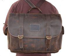 Handmade 15 Leather Briefcase  Backpack Bag  Messenger Bag  Laptop Bag in  Vintage Dark e058fdc51b964