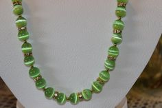 Cat Eye Green Glass Beaded Necklace by AngeleDesignsLA on Etsy, $25.00