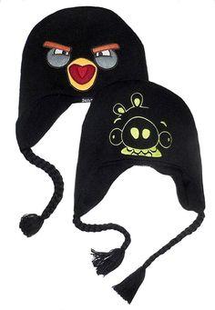 Kids Angry Birds Black Bird Reversible Peruvian Laplander Beanie Hat af23e9dbe