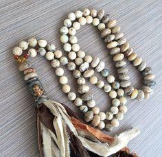 Boho Long Knotted Tassel Necklace Sair Silk Ribbon by LoveandLulu