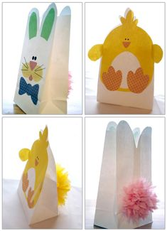 Green Lily Designs: FREE Bunny and Chick Easter Bags download... These little white paper bags have been waiting for the perfect project. I think you'll agree this bunny and chick are worth making. These would be great party favors or friendly gifts filled with treats for all to enjoy.