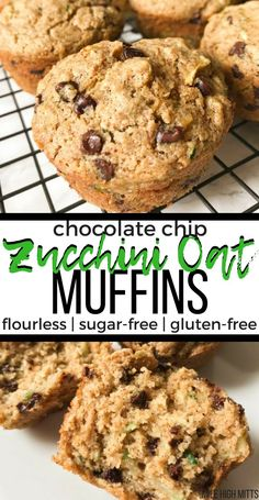 This easy, healthy Zucchini Oat Muffin recipe is flourless, sugar-free, and gluten-free. Only sweetened by natural sweeteners like banana and applesauce. And don't forget the chocolate chips for fun! Gluten Free Zucchini Muffins, Sugar Free Muffins, Chocolate Zucchini Muffins, Flourless Muffins, Sugar Free Zucchini Cookies, Rhubarb Zucchini Muffins, Gluten Free Zucchini Brownies, Zuchinni Cupcakes, Zuchinni Cookies
