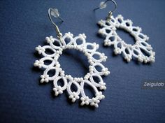 Wedding tatted Earrings with white seed beads Bridal by Zelgulab
