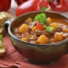 Photo about Typical Hungarian goulash soup with baguette. Image of kitchen, goulash, herb - 21174770 Diet Soup Recipes, Vegetable Soup Recipes, Vegetable Stew, Cooking Recipes, Healthy Recipes, Tomato Vegetable, Irish Potato Soup, Cheesy Potato Soup, Celerie Rave