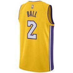 Nike Men's Lonzo Ball Los Angeles Lakers Association Swingman Jersey ($110) ❤ liked on Polyvore featuring men's fashion, men's clothing, men's activewear, men's activewear tops, gold, mens jerseys and mens nba jerseys