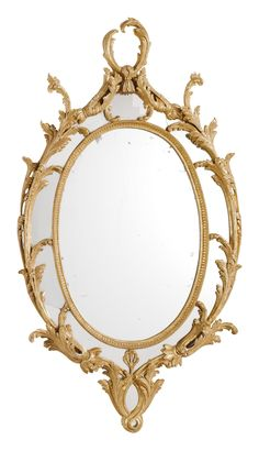 A George III Giltwood Wall Mirror, Circa 1760. Carved with Acanthus Scrolls, and Anthemion and a Marginal Plate separated by a Beaded Border,