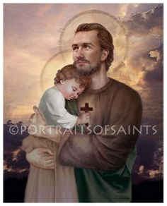 Saint Joseph and Baby Jesus Catholic Art by PortraitsofSaints, $12.00