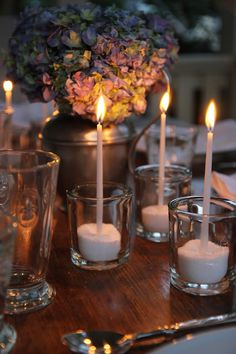 #Candlelight : Jenny Steffens Hobick: An Outdoor Dinner Party on our Porch | Blue Hydrangeas