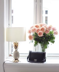 Pineapple lamp Zara, roses, Chanel bag :)