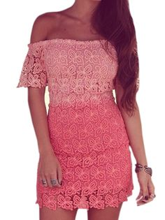 Lady's Seductive Slash Neck Off The Shoulder Short Sleeve Tie Waist Lace Hollow Out Rose Red Bodycon Dress on buytrends.com